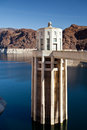 Hoover dam towers on colorado river lake mead scenic landscape vista Stock Photography