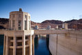 Hoover dam towers on colorado river lake mead scenic landscape vista Royalty Free Stock Photo