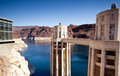 Hoover dam towers on colorado river lake mead scenic landscape vista Stock Images