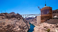 The hoover dam view of holding back lake mead Stock Photo