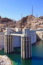 Hoover Dam and Water Intake Towers Royalty Free Stock Photos