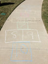 Hop scotch on sidewalk a background Royalty Free Stock Photo