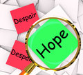 Hope despair post it papers show hoping or depression showing Stock Photo