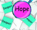 Hope despair post it papers show wishing or desperate showing Royalty Free Stock Photos