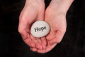 Hope hands holding a rock with engraved word Royalty Free Stock Images