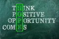 Hope opportunity acronym of written on green chalkboard Stock Image