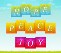 Hope, Peace, Joy Stock Image