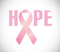 Hope sign and pink cancer ribbon illustration design over a white background Royalty Free Stock Photo