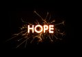 HOPE title word in glowing sparkler Royalty Free Stock Photo