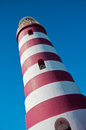 Hope town lighthouse red and white candy cane striped on elbow cay abaco bahamas Stock Image