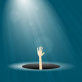 Hope vector illustration of man lifting hand from a dark hole with light shining on him Royalty Free Stock Photos