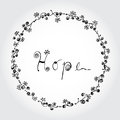 Hope word with circle flora and butterfly line art illustration. Black and White color.
