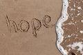 Hopelessness word hope written in send ocean water approaching it Stock Photography
