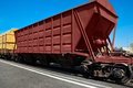 Hopper wagon self unloading for transportation of dry bulk cargoes Royalty Free Stock Photography