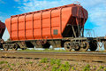 Hopper wagon self unloading for transportation of dry bulk cargoes Stock Image