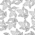 Hops seamless pattern, hand drawing, doodle style. Outline repeating texture, endless background. Brewing concept Royalty Free Stock Photo