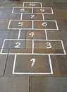 Hopscotch Game on Paving Stones Stock Photo