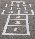 Hopscotch game in school playground Stock Image