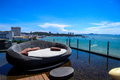 Horizon sea view at pattaya city Stock Photos