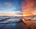 Horizon water and sun sea view on the sunset in indonesia sawarna beach panoramic picture Royalty Free Stock Image