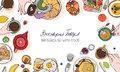 Horizontal advertising banner on breakfast theme. Backdrop with drink, pancakes, sandwiches, eggs, croissants and fruits