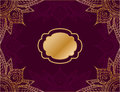 Horizontal  background in arabic style, with red background and gold mandala ornament Royalty Free Stock Photo