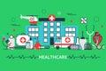 Horizontal banner in modern flat line stile. Health care concept