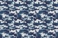 Horizontal banner seamless camouflage pattern background. Classic clothing style masking camo repeat print. Blue, navy Royalty Free Stock Photo