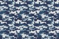 Horizontal banner seamless camouflage pattern background. Classic clothing style masking camo repeat print. Blue, navy
