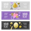 Horizontal Banner Set with Gold Glitter Elements. Poster Invitation Voucher Templates. Abstract Cards Design Royalty Free Stock Photo