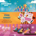 Horizontal banners for amusement park with carousels, food truck in bright colors