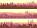 Horizontal banners of big arab city at sunset abstract with mosques Stock Image