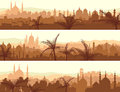 Horizontal banners of big arab city at sunset abstract with palm trees Royalty Free Stock Images