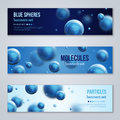 Horizontal banners with blue molecules design Royalty Free Stock Photo