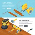 Horizontal banners with electrical tools for construction