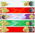 Horizontal banners with gold coins Royalty Free Stock Image