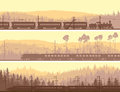 Horizontal banners of locomotive train and hills coniferous woo abstract the high speed on background wood Royalty Free Stock Photos