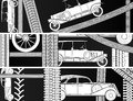 Horizontal banners of old vintage car vector black and white with tire tracks and space for text Royalty Free Stock Images