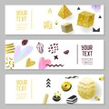 Horizontal Banners Set with Gold Glitter Geometric Elements. Poster Invitation Voucher Templates. Abstract Cards Design Royalty Free Stock Photo