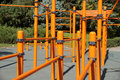 Horizontal bar for workout complex of constructions occupation by power physical culture Stock Photos