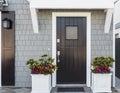 Horizontal of black front door to family home