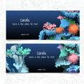 Azul tarjeta coral y