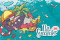 Horizontal card on a summer theme of colored doodles Royalty Free Stock Photo