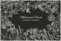 Horizontal card template with vintage sketches of chalked medicinal herbs
