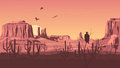 Horizontal cartoon illustration of prairie wild west with cacti at sunset Stock Photo