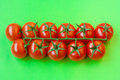 Horizontal colorful bright still life made branch ripe fresh red shiny red cherry tomatoes arranged line bright green background Stock Images