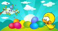 Horizontal easter and spring banner design with bird and chicken - vector