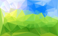 Horizontal green blue lowpoly vector background
