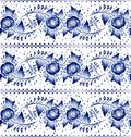 Horizontal gzhel seamless blue floral russian pattern in style vector illustration Stock Photo
