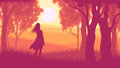 Horizontal illustration within forest with silhouette girl in su vector of tree trunks wood and meadow on edge of sunset red tone Stock Photography